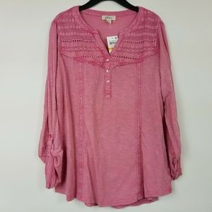 Style&Co Small Berry Henley Top 6AR83